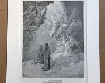 1880 Dante's Paradise Original Antique Gustave Dore Engraving - Dante Alighieri - Mounted and Matted - Available Framed