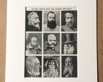 1940s Beards Distinctive and Beards Dreadful Original Vintage Print - Mounted and Matted - Fashion - Facial Hair - Available Framed