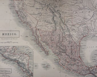 1859 MEXICO, CALIFORNIA and TEXAS large rare original antique A & C Black Map with inset map of Central America, Guatemala
