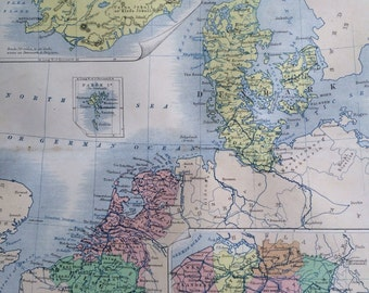 1859 Belgium, Holland, Denmark & Iceland Original Antique Map, 10.5 x 13.5 inches, historical wall decor, A K Johnson Atlas, Home Decor