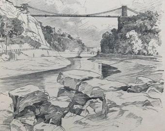1923 Clifton Suspension Bridge Original Antique Illustration - Bristol - Architecture - City Scene - Mounted and Matted - Available Framed
