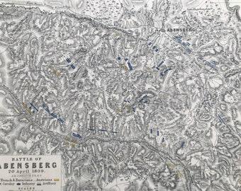 1875 Battle of Abensberg, 1809 Original Antique Map - Bavaria - Napoleonic Wars - Battle Map - Military History - Available Framed
