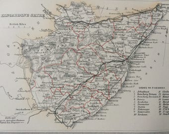 1870 Kincardineshire Original Antique Map, Scotland county cartography, mounted and matted 10 x 12 inches, Available Framed