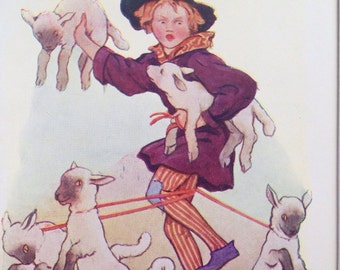 1917 If I'd as much Money as I Could Tell Original Vintage Nursery Rhyme Margaret W. Tarrant Illustration - Matted and Available Framed