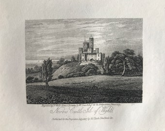 1816 Norris Castle, Isle of Wight Small Original Antique Engraving - Architecture - England - Mounted and Matted - Available Framed