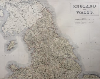 1859 ENGLAND and WALES (Northern Part) extra large rare original antique A & C Black Map showing railways, and railway plans