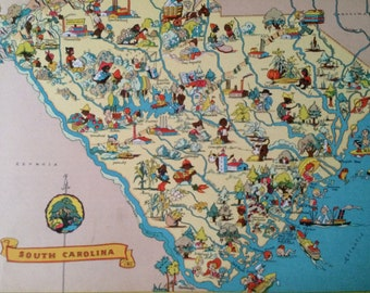 1935 South Carolina Original Vintage Cartoon Map - Ruth Taylor White -  Available Mounted and Matted - Whimsical Map - United States