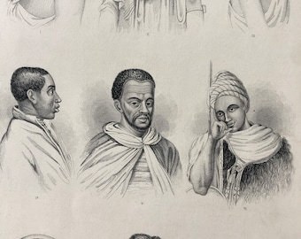 1871 North African Races Original Antique Steel Engraving - Anthropology - Human Races - Mounted and Matted - Available Framed