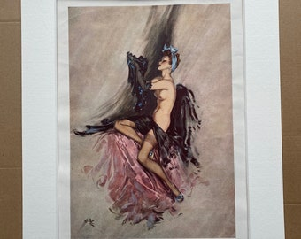 1946 'Taking Cover' Original Vintage David Wright Folio Print - Pin-Up Girl - Glamour - Mounted and Matted - Available Framed