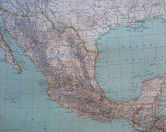 1892 Mexico Large Original Antique Map - 14.5 x 18 inches - Central America - Vintage Wall Decor