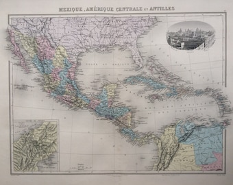 1892 Mexico, Central America & West Indies original antique map, Nouvel Atlas Illustre, French atlas map, Geography, Cartography