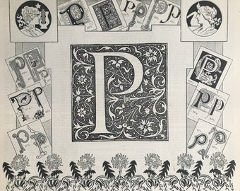 1897 Letter P - Decorative Alphabet Letter Original Antique Print - Birthday Gift - Mounted and Matted - Available Framed