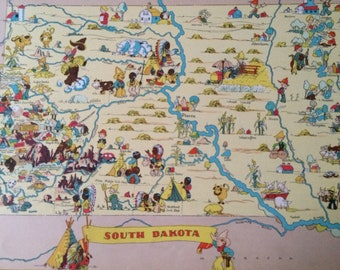 1935 South Dakota Original Vintage Cartoon Map - Ruth Taylor White - Mounted and Matted - Whimsical Map - United States