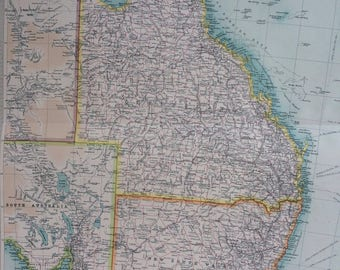 1922 AUSTRALIA (Eastern Section) Large Original Antique Times Atlas Political Map with inset map of Tasmania
