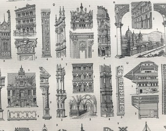 1897 Styles of Architecture Original Antique Print - Column - Pilar - Temple - Architect Gift - Mounted and Matted - Available Framed