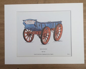 1978 Breconshire Farm Waggon Large Original Vintage Print - Mounted and Matted - Agriculture - Gift for Farmer - Vintage Wall Decor