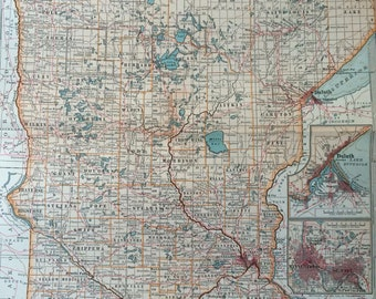 1903 Minnesota Original Large Antique Map with inset maps of Duluth, Minneapolis and St Paul - 11 x 16 Inches - US State Map