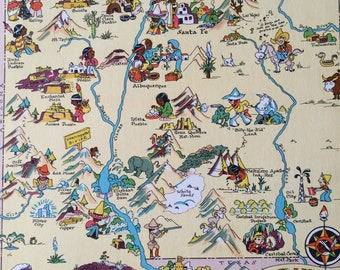 1935 New Mexico Original Vintage Cartoon Map - Ruth Taylor - Mounted and Matted - Whimsical Map - United States