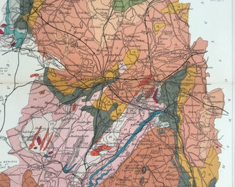 1913 Shropshire Original Antique Small Geological Map - UK County Map - Geology - Available Framed
