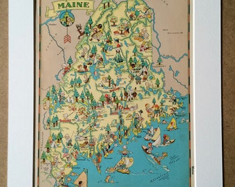 1935 Maine Original Vintage Cartoon Map - Ruth Taylor - Mounted and Matted - Whimsical Map - United States
