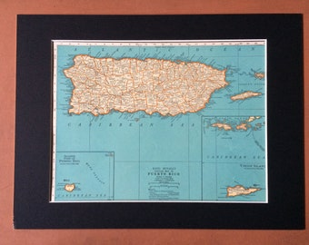 1937 PUERTO RICO Original Vintage Map, 11 x 14 inches, Rand McNally - Available Mounted and Matted