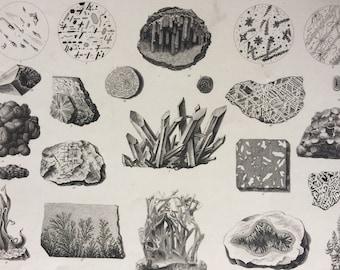 1869 Mineralogy  Large Original Antique Engraved Illustration - Gem, Crystal, Diamond, Mineral - Mounted and Matted