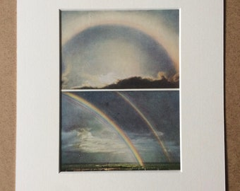 1940s Rainbows and Halo round the sun Original Vintage Print - Mounted and Matted - Meteorology - Available Framed