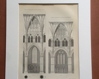 1875 Lincoln Cathedral Architecture Original Antique Matted Engraving - Nave and Choir Sectional Compartments - Matted & Available Framed