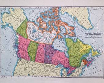 1940s CANADA Original Vintage Map - Dominion of Canada and Newfoundland - Colourful Wall Decor - Wall map - Home Decor