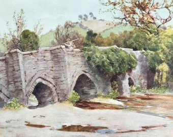 1925 Old Bridge at Lostwithiel Original Antique Print - Cornwall - England - Mounted and Matted - Available Framed