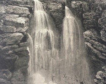 1876 Falls of the Doubs Original Antique Wood Engraving - Waterfall - France - Mounted and Matted - Available Framed