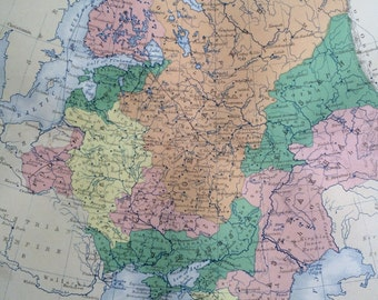 1859 RUSSIA & POLAND Original Antique Map, 10.5 x 13.5 inches, historical wall decor, A K Johnson Atlas, Home Decor, Cartography, Geography