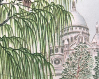 1956 Paris - Montmartre Original Vintage Chiang Yee Illustration - Mounted and matted - Available Framed