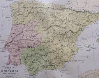 1876 Iberia or Hispania Original Antique Map - Classics - Ancient History Spain & Portugal Map -  Gift Idea - Vintage Map - Wall Decor