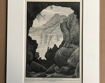 1880 Under the Natural Bridge, Lebanon Original Antique Engraving - Mounted and Matted - Available Framed - Victorian Decor