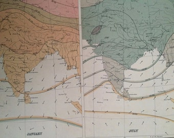 1908 India (Seasonal Winds and Isobars) Original Antique Map - Meteorology - Meteorological Map - Indian Empire - Cartography