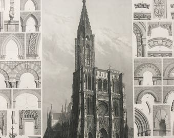 1849 Gothic Cathedral Architecture Large Original Antique Engraving - Mounted and Matted -  Arch - Doorway Styles - Available Framed