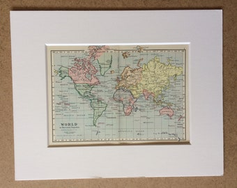1895 World on Mercator's Projection Original Antique Map - Mounted and Matted - 10 x 8 inches - Framed Map - Gift Idea - Framed Vintage Art