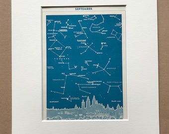 1940s September Star Map seen over Glasgow Original Vintage Print - Mounted and Matted - Astronomy - Celestial Art - Available Framed