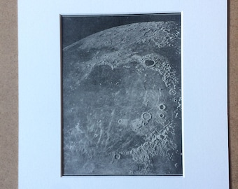 1940s Lunar Landscape Original Vintage Print - Mounted and Matted - Astronomy - Moon - Available Framed
