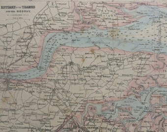 1870 Estuary of the Thames and the Medway Original Antique Map - Available Mounted and Matted - Essex - Kent - Wall Decor - England