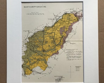 1913 Northamptonshire - Original Antique Small Geological Map - UK County Map - Geology - Available Framed