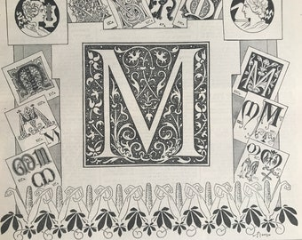 1897 Letter M - Decorative Alphabet Letter Original Antique Print - Birthday Gift - Mounted and Matted - Available Framed