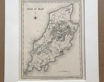 1845 Isle of Man Original Antique Engraved Map - Cartography - Decorative Wall Decor - Wall Map - British Isles - Manx History