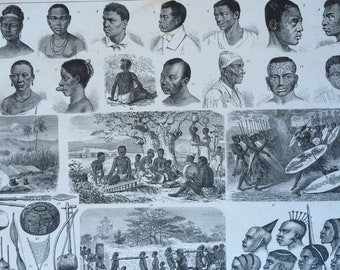 1870 Southern African Peoples, Art and Culture Large Original Antique Engraved Illustration - Ethnography - Zulu Mozambique