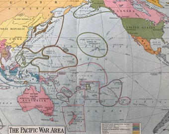 1940s The Pacific War Area Original Vintage Map - Available Mounted and Matted - Second World War - Military History - World War II