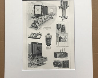 1924 Photography Original Antique Print - Camera - Photography Equipment - Mounted and Matted - Available Framed
