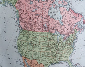 1920 NORTH AMERICA Original Vintage Map, 12 x 14.5 inches, historical wall decor, Stanford Atlas, Home Decor, Cartography, Geography