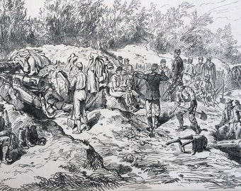 1877 Russo-Turkish War - Constructing a Battery at Oltenitza Original Antique Engraving, Illustrated London News, 19th Century History