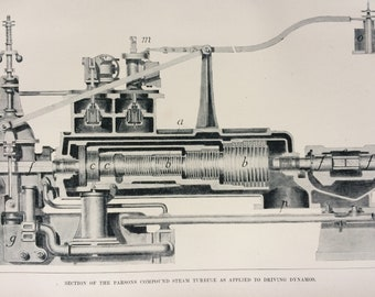 1905 Section of the Parsons Compound Steam Turbine as applied to Driving Dynamos Original Antique Print - Victorian Technology